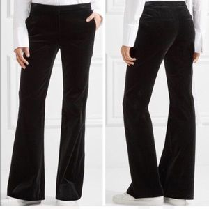 Theory black velvet wide leg dress pants